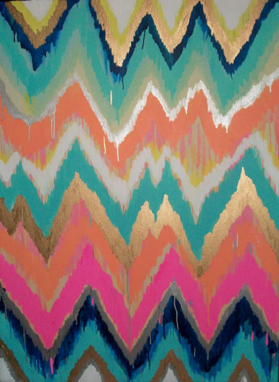 "$550ikat/ chevronJennifer Moreman custom painting16"" x 20"" make it mine"