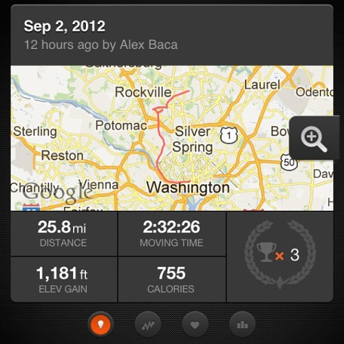 Strava is amazing, but it drains your battery like nothing else. This is only half of today's ride; I had to shut the app off so I could use my phone to navigate. Kind of a bummer, as I'd like to see how I did on the whole thing. (Taken with Instagram)