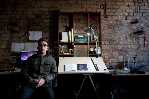 sam octigan at his desk within studio six fifteen www.samoctigan.com
