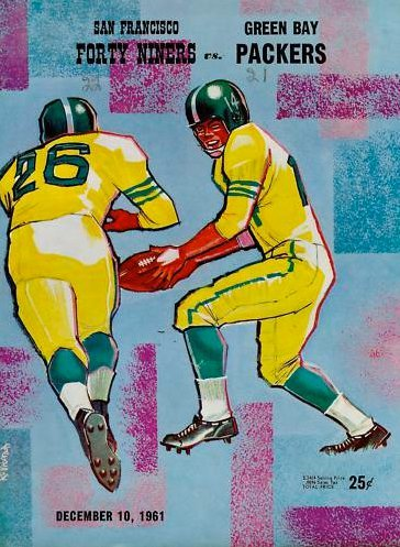San Francisco Forty Niners vs. Green Bay Packers, December 10, 1961. The Niners handed the Packers one of their only three losses that year, as the men from Green Bay went on to win their 7th NFL title in a match against the New York Giants.