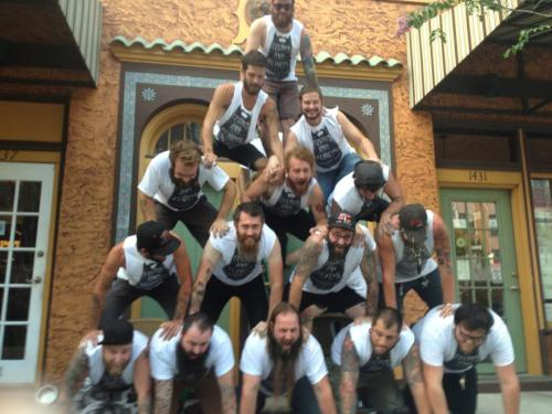 hotrodsparrow:  15 bearded guys from Saint Petersburg Florida getting into the World Beard Day spirit and competing in The Official World Beard Day All-Bearded Human Pyramid Competition.  :O !!!!!!!!!!!