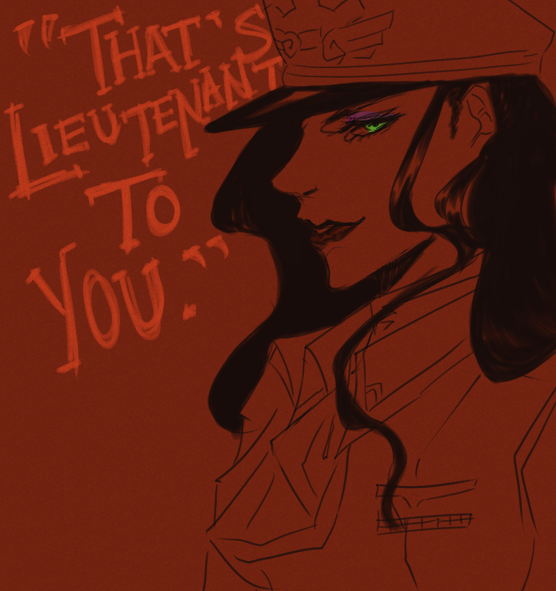 "goldenfreezeover:  ""…bitch"" was implied. Lieutenant Asami Sato, founding lady for the air force branch in the United Forces.  She can enlist me anytime."