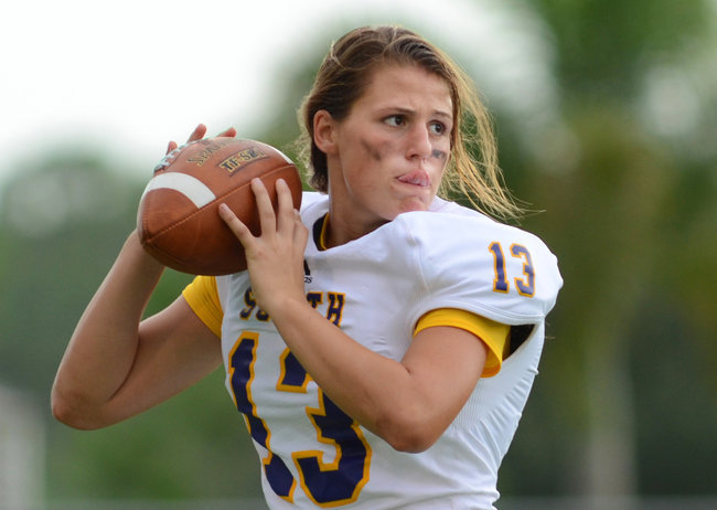 "Girl Is Pioneer at Quarterback for Florida High School Erin DiMeglio, a 17-year-old senior at South Plantation High School, is believed to be the first girl to play quarterback in a Florida high school football game.  ""We'd be warming up, and people would stop over and wait for her to throw to see if she could play,"" the Paladins' starting quarterback, John Franklin, said. ""And then they'd walk away like, 'Oh, they have a girl, and she's for real.' ""  THEY HAVE A GIRL, AND SHE'S FOR REAL I love this. Happy football season!"