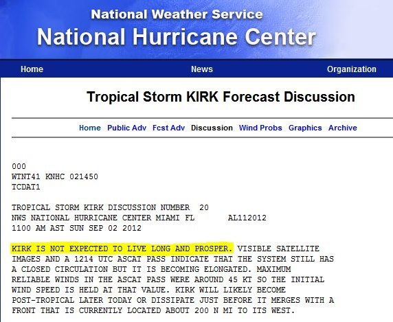 Today on the National Weather Service's website.