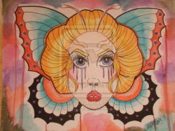 "x-ladylex-o:  Lady Butterfly by ~x-ladylex-o 10""x13"" watercolors"