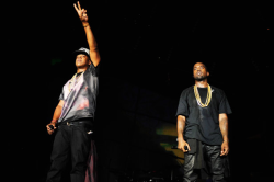 Jay-Z and Kanye West performing at the Made in America festival.