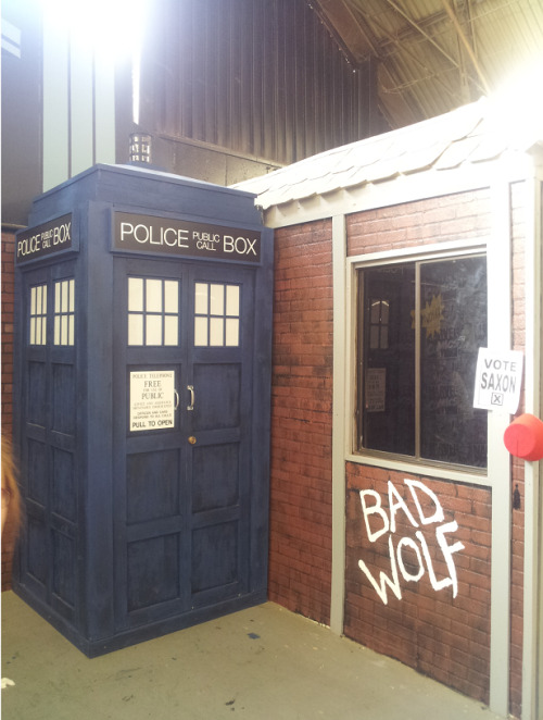 tumblingwhovian:  I FOUND THE TARDIS TODAY! I screamed so loud that I scared off the kids that were trying to get the TARDIS open, but it was like meeting your ultimate hero! She's taller in real life than I expected, but there was a Bad Wolf graffiti, and a Vote Saxon sign, and a fez, AND IT WAS ALL VERY EXCITING! I HUGGED THE TARDIS! KJNCKJDSV! So, if you happen to go to the LA County Fair, she's in the kids' section in  the literacy hall that has all of the kids' collections and art.