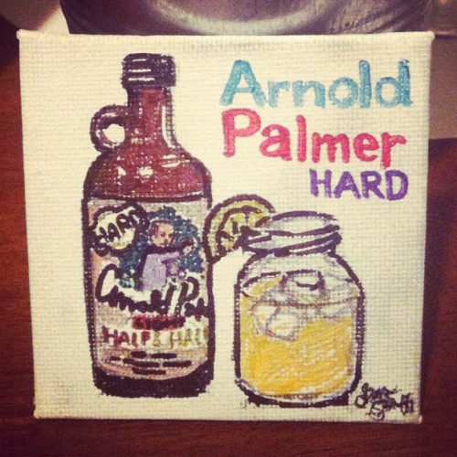 I drew my favorite drink: Arnold Palmer Hard half & half lemonade tea (aka John Daly) #drawing #canvas #art #arnoldpalmer #drink #tea #lemonade #sharpie #illustration #harddrink #js3 (Taken with Instagram)