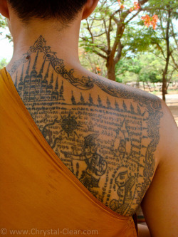 quietbystander:  Yantra tattooing, also called sak yant, is a form of tattooing practiced in Southeast Asian countries including Cambodia, Laos, and Thailand. Yantra tattoos are believed to be magic and bestow mystical powers, protection, or good luck.