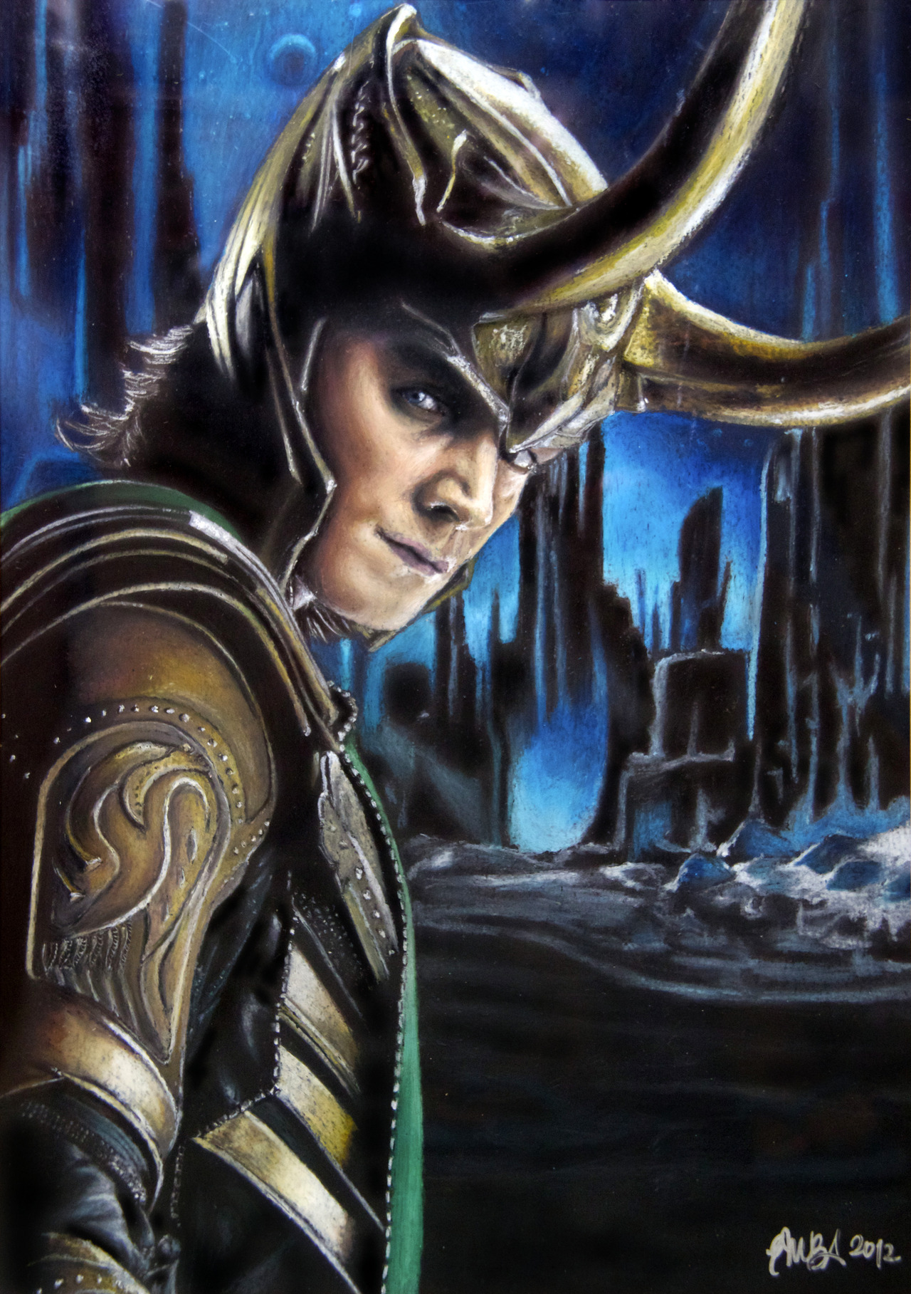 Loki in JotunheimMy first oil pastel portrait, 420mm x 297mm (A3) -> TIME LAPSE VIDEO PLS HELP ME LET TOM HIDDLESTON SEE THIS!Please tweet this to @twhiddleston!Thank you!! :) September 2012