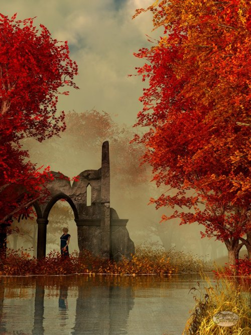 moon-lotus:  Ruins in Autumn Fog by *deskridge