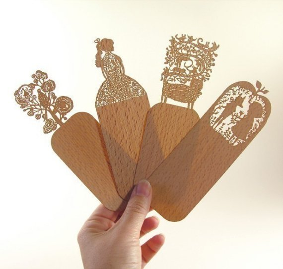 Simple and delicate laser cut wooden book marks  by i-adore-etsy