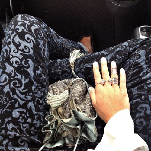 Everything #brocade @jbrandjeans #jbrand loving! Rings #leivankash NEW #dagger ring soon on leivankash.com and #repossi  (Taken with Instagram)