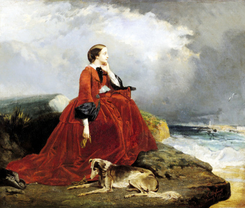 treselegant:  Eugénie at Biarritz (1858)   by E. Defonds.