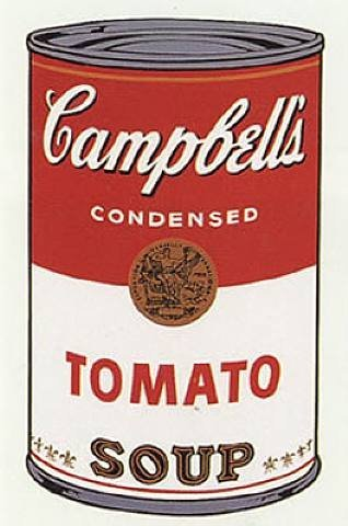 "Andy Warhol, Campbell's Soup Can, 1962 ""Warhol's Campbell Soup portraits are is way of expressing ultimate realism- think of those old pictures od supermarket shelves stacked high with pyramids of cans. That was his era and he was recreating it for everyone to see. Without him, modern art would be completely different"", Patrick Elliot, senior curator Scottish National Gallery of Modern Art. …he's the king of pop art for a reason."