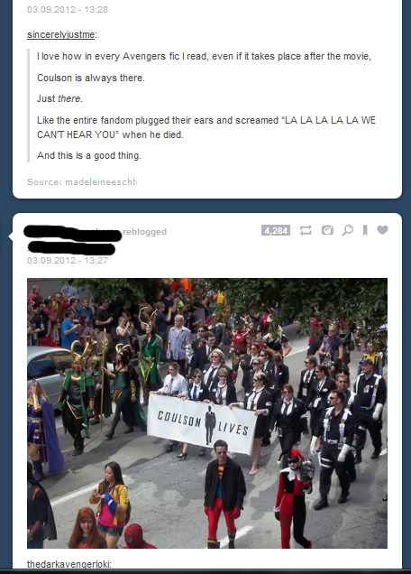 itneverwasagame:  thehellhoundofgallifrey:  I love how the fandom just is in total denial.  Well, there's always the possibility that he could pull a Jason Todd and come back.