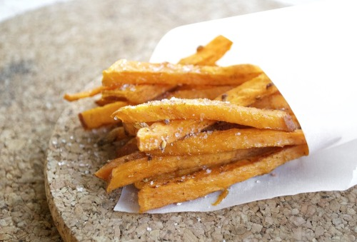 Baked Yam Fries  INGREDIENTS: 2 yams 1 lemon- squeezed 3 tsp paprika 3 tsp cumin salt and pepper 2 tbsp olive oil DIRECTIONS: 1. Slice the yams horizontally first then cut into smaller rectangular shapes. 2. In a bowl, coat yam with olive oil, lemon juice, cumin and paprika. 3. Spread yams onto a pan in one single layer, then baked at 450'C for 15-20 minutes. 4. Sprinkle with salt and pepper when cooked.