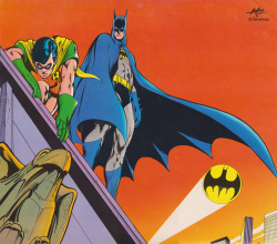 Dick Grayson/Robin and Bruce Wayne/Batman by Neal Adams and Dick Giordano [Super DC Calendar 1976: November] (Dick's original DC universe birth date is November 11th)