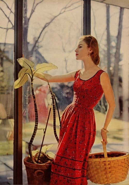 theniftyfifties:  Model wearing a red summer dress, 1950s.