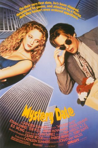 Mystery Date (1991)  A teenage boy would like to meet with a very pretty, blonde girl who lives in the next door. His elder brother helps him with car and credit card to be successful. This simple story will be very complicated because of the corpse in the boot, and other nightmares intervene…  Cast: Ethan Hawke, Teri Polo Follow this blog for the neverending list of all the teen movies ever made!