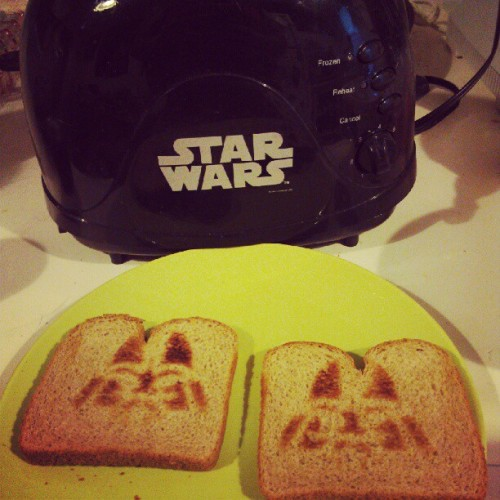 Breakfast this morning features Darth Vader toast from our #StarWars toaster. #food  (Taken with Instagram)