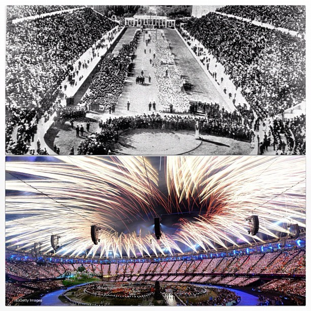 Opening Ceremony of the first Summer Olympics in Athens 1896 to the Opening Ceremony of the last Summer Olympics #london2012 #olympics (Taken with Instagram)