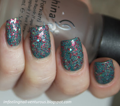 "Million Lacquers ""Apple Tree"" over turquoise — a sparkly topcoat made up of fine silver holo, coral matte and pastel green holo glitters (via I'M FEELING NAIL-VENTUROUS: Million Lacquers Swatches)"