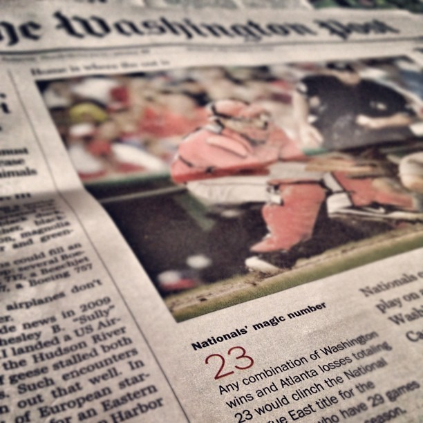 Magic number for the @Nationals on A1 of the @washingtonpost  #nats  (Taken with Instagram)