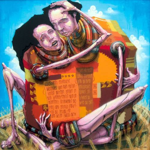 """Fleisch"" 145 cm x 145 cm mixed media on wood 2008"