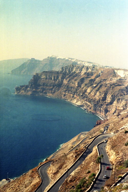 The insane roads of Santorini… plus Fira off in the distance. Shot with a Nikon FM2 and expired Kodak Royal Gold 200