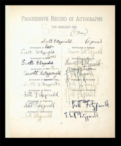 explore-blog:  The evolution of F. Scott Fitzgerald's signature from 5 to 21 years of age.  To me, a visual record of change over time can be defined as an infographic. I like this concept. I wonder how I can elaborate on this.