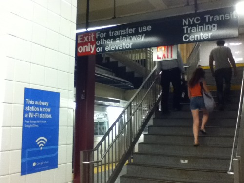 NYC Manhattan 8th Ave & 14th St Station apparently has Wifi now, though I could barely connect. slow… :(