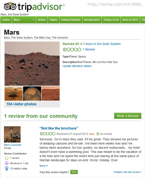 laughingsquid:  Negative Mars Review on TripAdvisor by a User Named Mars Curiosity