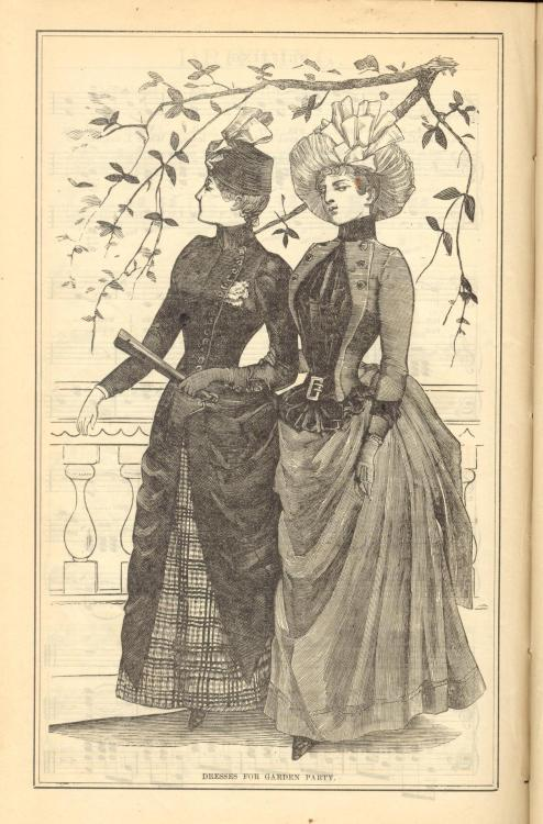 Dresses for a Garden Party from Peterson's Magazine, September 1887.  [Look at that face. That girl is up to something…]