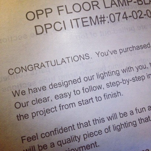 "I love assembly instructions that begin with ""Congratulations."" (Taken with Instagram)"