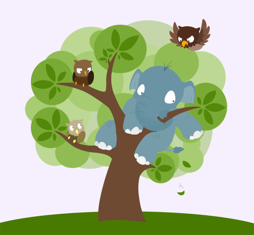 Just search 'owl tree' on google and you will find all these hip fancy vector owls in trees, sitting on the walls of people's living rooms. Owls are all the rage, suddenly. And I thought: Why owls? Why not elephants?  This is why not.