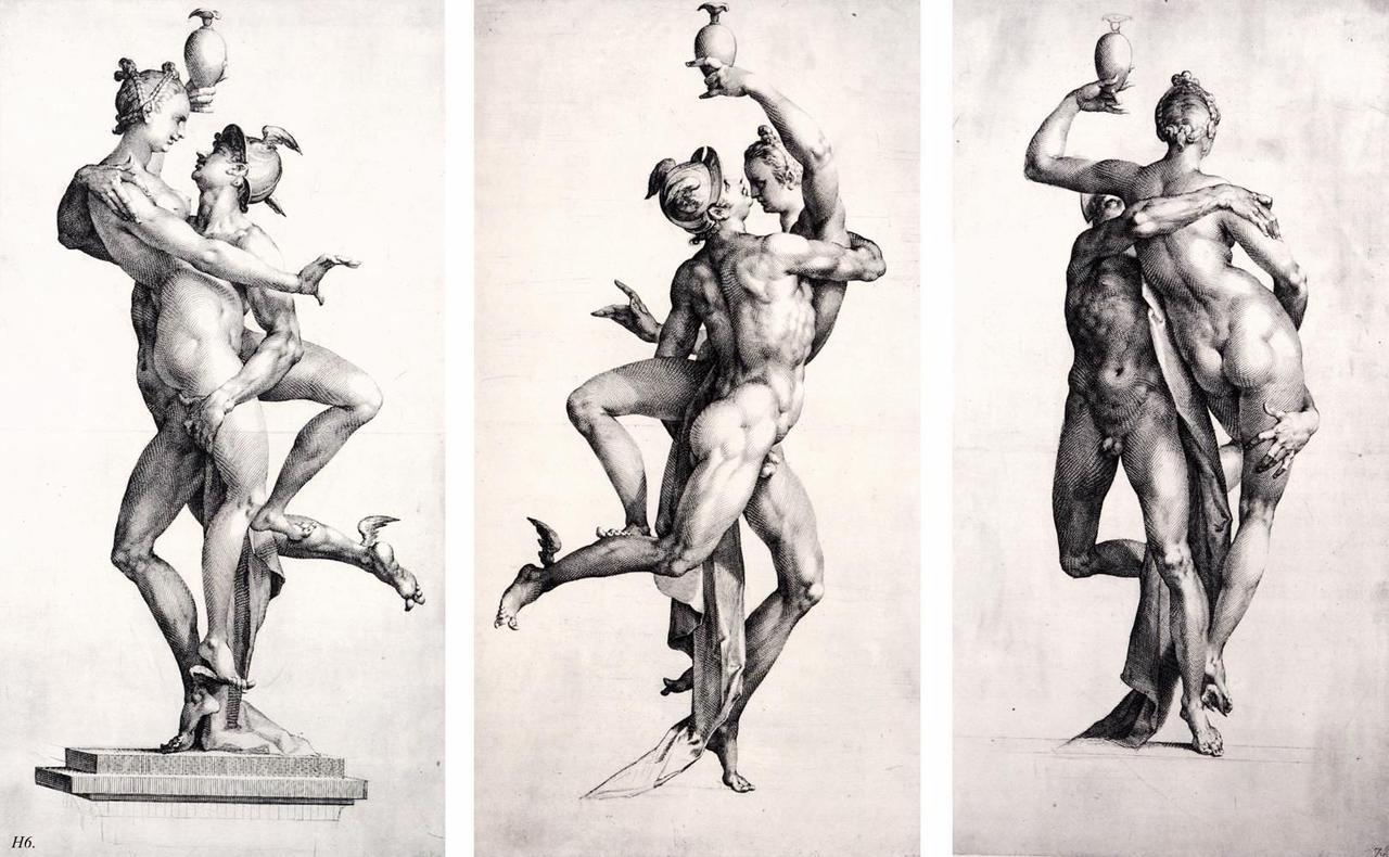 Mercury. from three sides. 1594-95. Jan Harmensz Muller. http:hadrian6.tumblr.com