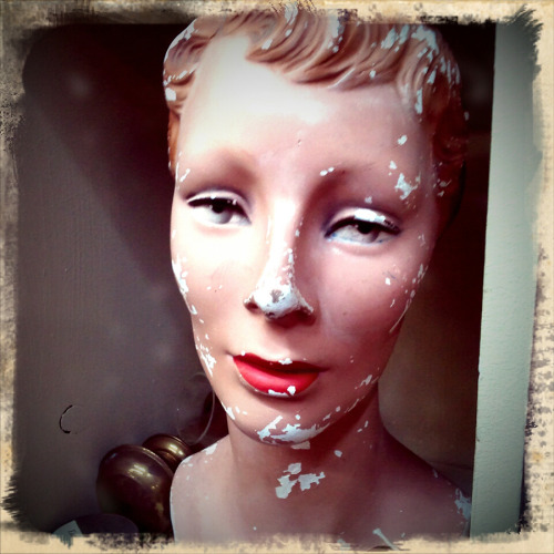 Random mannequin and porcelain heads…..photographed with Retro Camera for Android © Colleen G. Drew