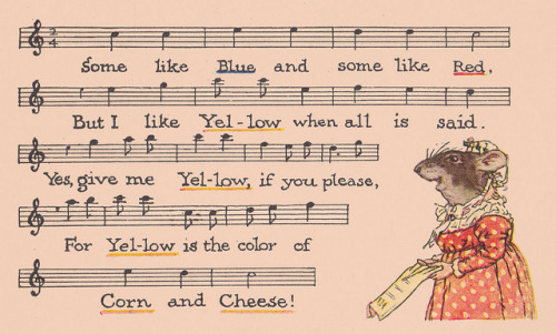 "Yellow is the color of corn and cheese by katinthecupboard on Flickr.  Via Flickr: ""Grasshopper Green and the Meadow-Mice"" written and illustrated by John Rae.  P.F. Volland Company, 1922, twelfth edition.  One of Volland's ""Sunny Book"" series."