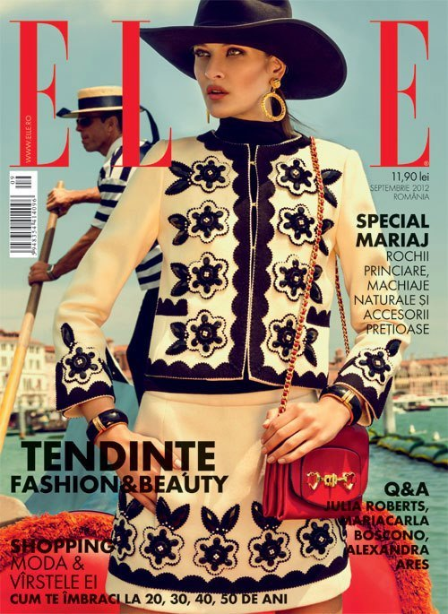 Jaquelini Medeiros is Elle Romania's September 2012 cover girl lensed by fashion photographed Urivaldo Lopes (www.urivaldolopes.com).  Original Article