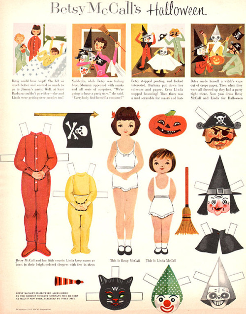 old-ads-and-mags:  Betsy McCall Halloween, 1953 ———- thank you, Retrogirly! :))))