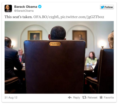 Ha, just seeing Obama's response to Clint Eastwood's chair incident …                (via Obama's Response To Clint Eastwood Was The Most RT'd Tweet Of RNC | TPM LiveWire)