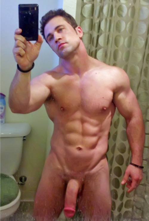 hot-naked-male-self-pics:  Good-looking, muscled, smooth, cut, thick-dicked stud!