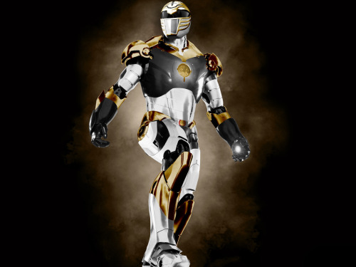 This is an Iron Man / White Power Ranger mashup that I created after being inspired by this image.