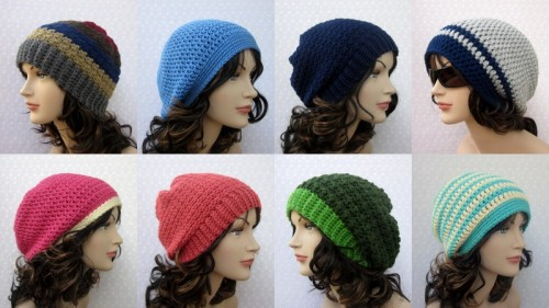 patcreates:  Here are several of my recently created slouchy hats.  I love the different styles, colors and patterns.