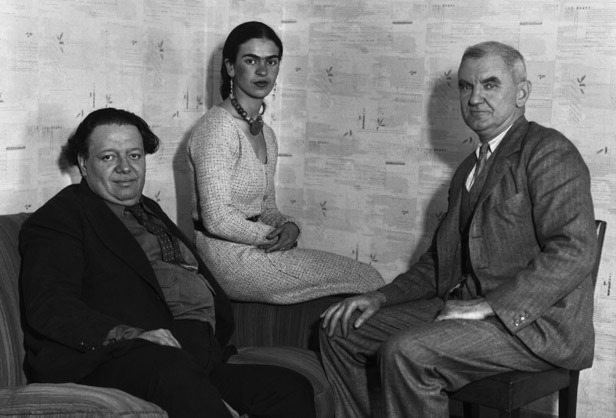 Frida and Diego meeting with Anson Conger Goodyear, President of the Museum of Modern Art, in NY.