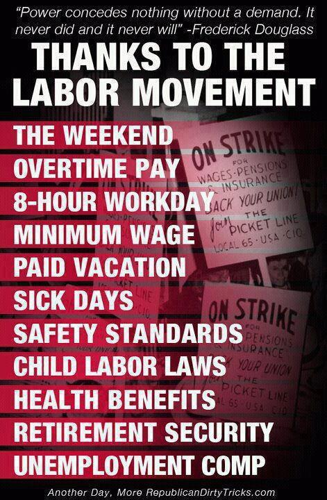 Thank a union for these things and more.