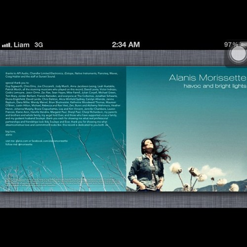 #alanismorisette digital booklet for havoc and bright light (Taken with Instagram)