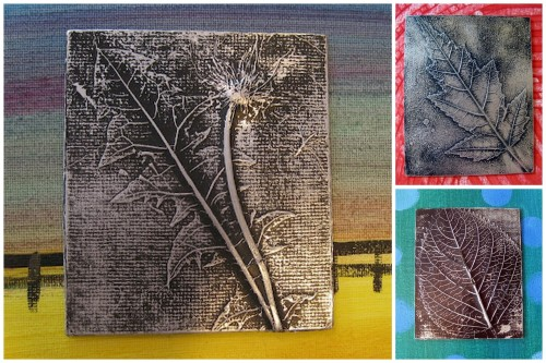 DIY Aluminum Foil Leaf Relief Tutorial from Cassie Stephens here. This is an easy activity for kids or adults. These were done (except the dandelion relief) by 3rd graders. She also mentions using lace which would be really interesting.