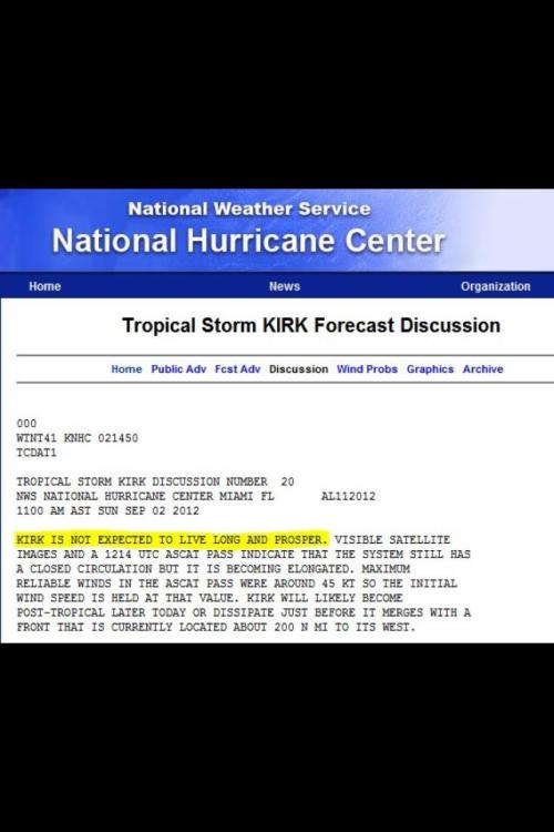 The guys at the National Hurricane Center boldly went there